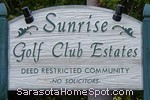sign in front of Sunrise Golf Club Estates in Sarasota