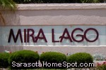 sign in front of Mira Lago in Sarasota