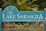 sign in front of Lake Sarasota in Sarasota
